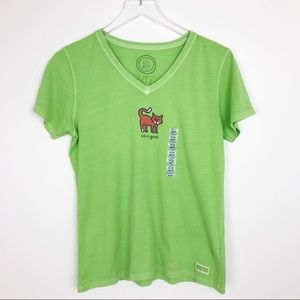 NWT Life is Good Cat V Neck Green Tee T Shirt